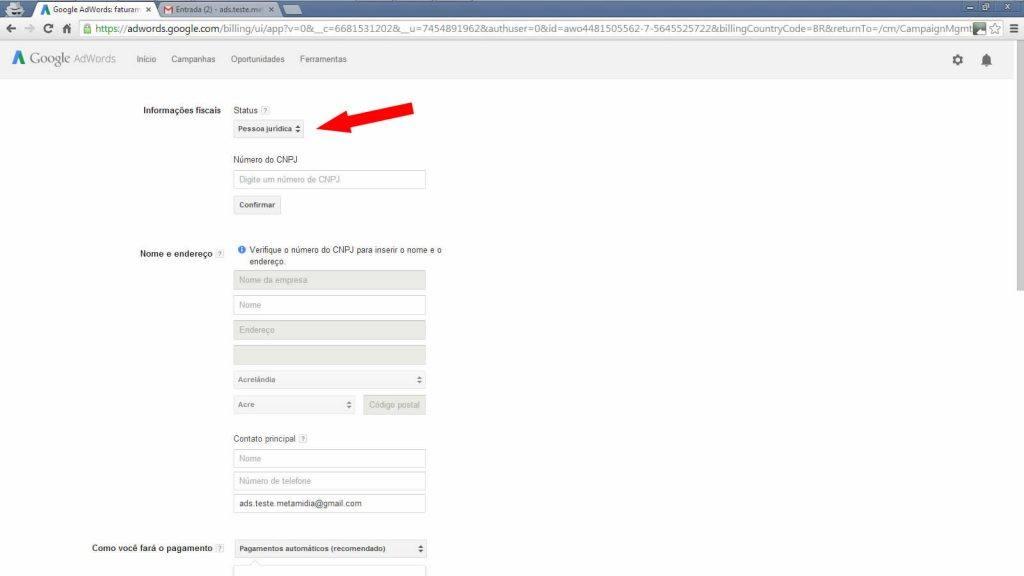 Google adwords - Dados de pagamento