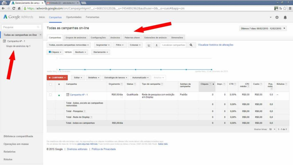 Google adwords - Lista de campanhas on-line