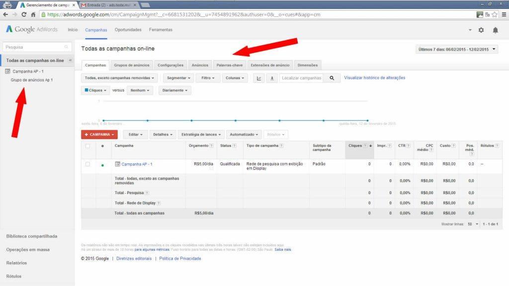 Google adwords - Lista de campanhas on-line