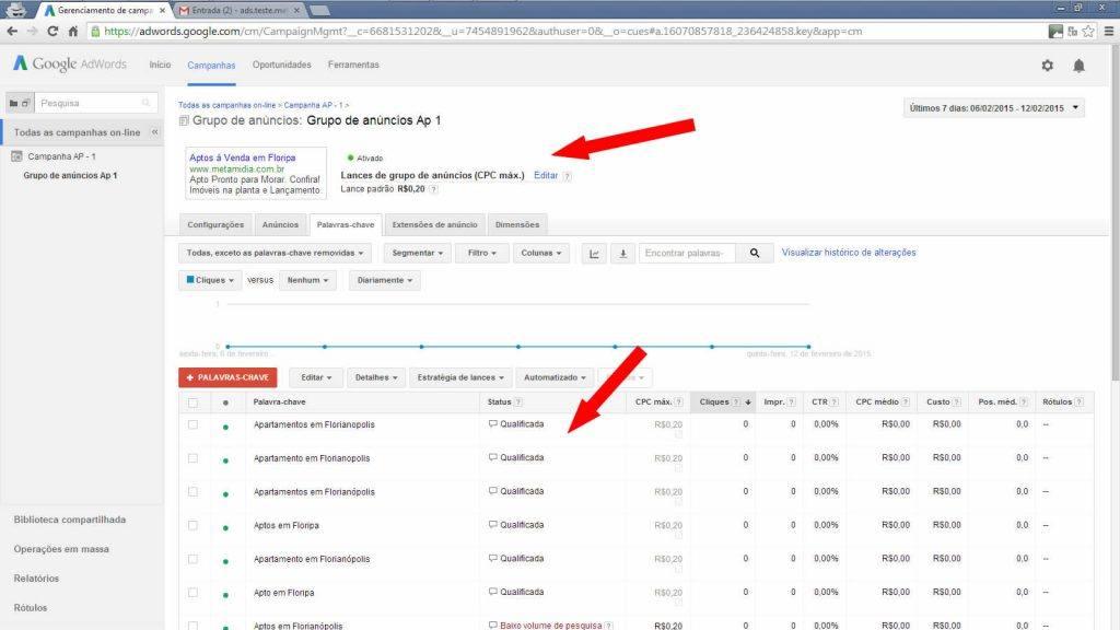 Google adwords lista de anúncios on-line