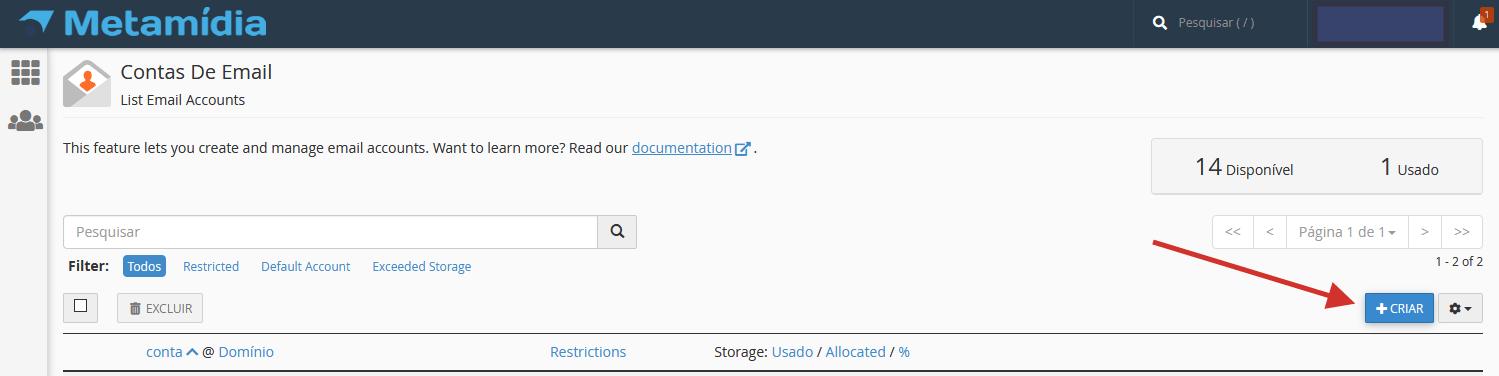 criar conta email cpanel